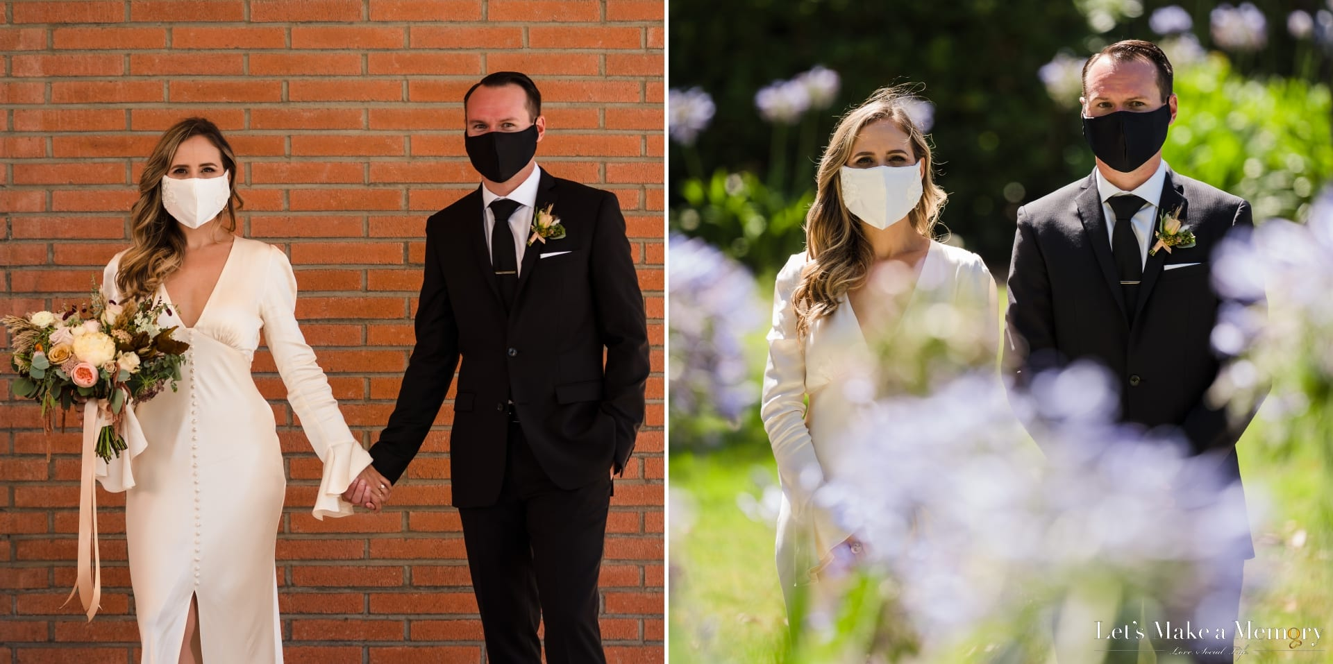Wedding Couple With Mask