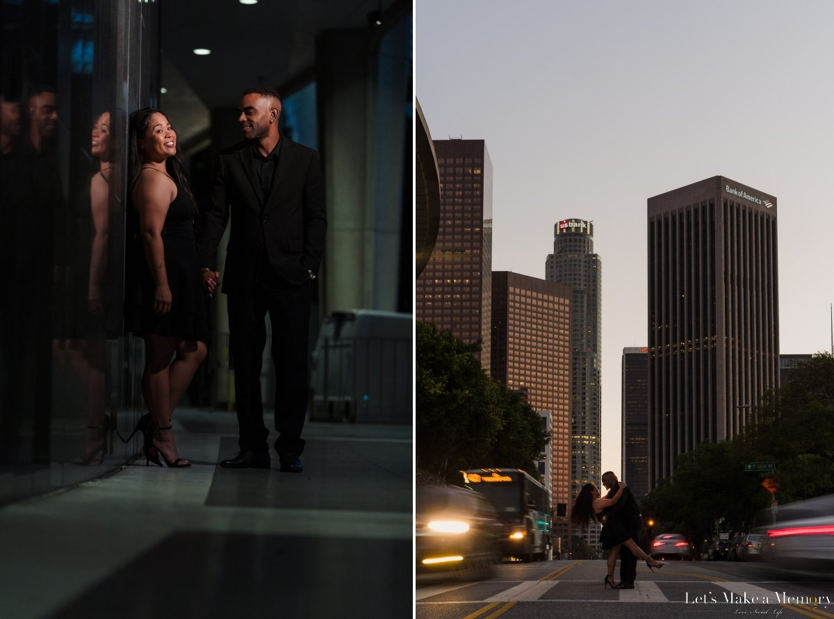 Creative Downtown Los Angeles Engagement